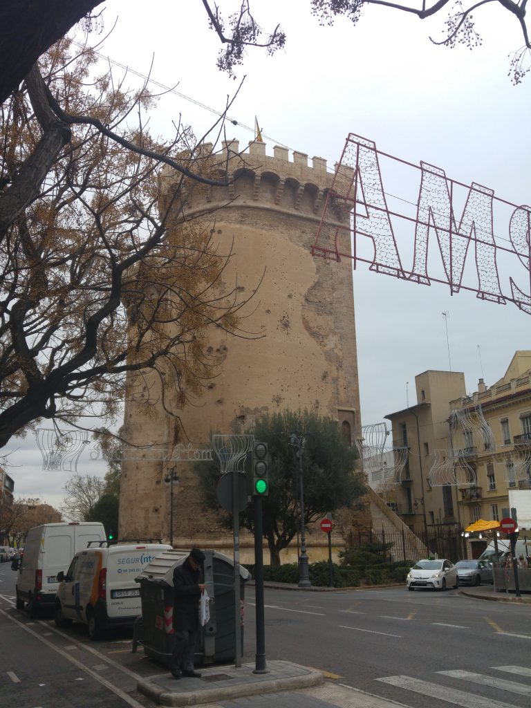 Approaching the historical Torres De Quart in Valencia Spain