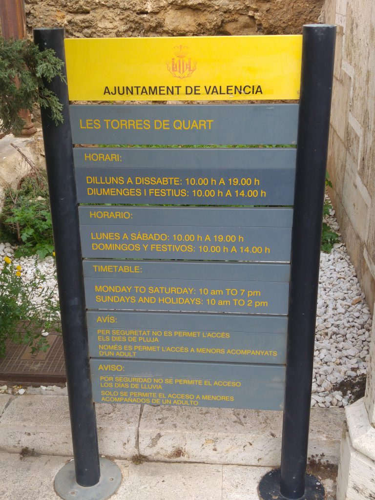 Here is the information board for Torres De Quart.