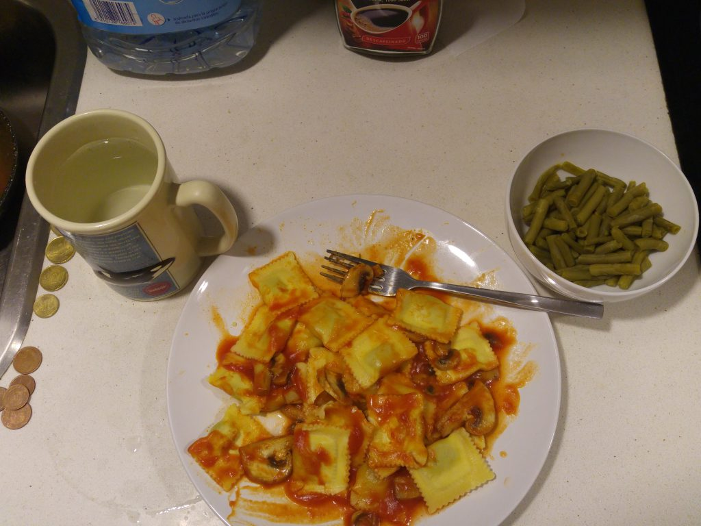 Dinner is served. It is ravioli. It is a good meal for energy tomorrow. I plan to do a lot of walking.