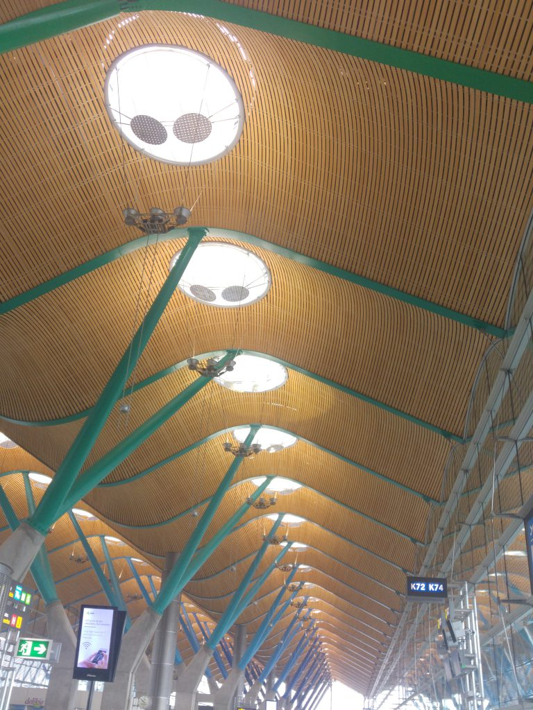 The intricate ceiling at Madrid Airport