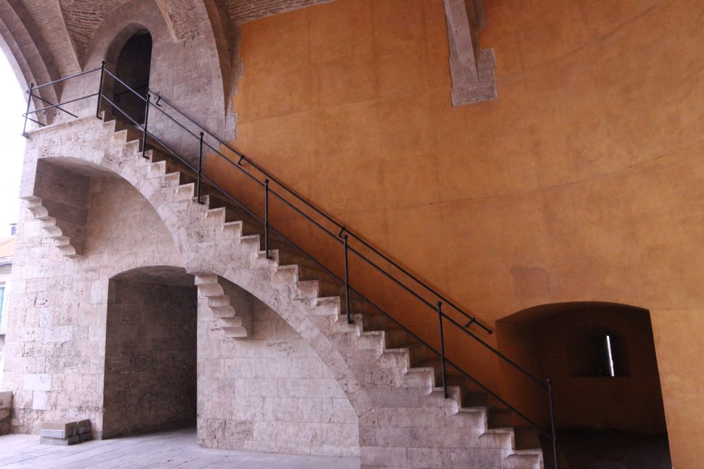 Another view of the the staircase that takes you to the second levelof the Torres De Quart in Valencia, Spain