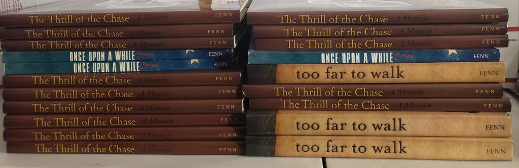 My cache of Autographed Forrest Fenn Books, with the majority of them being The Thrill of the Chase.