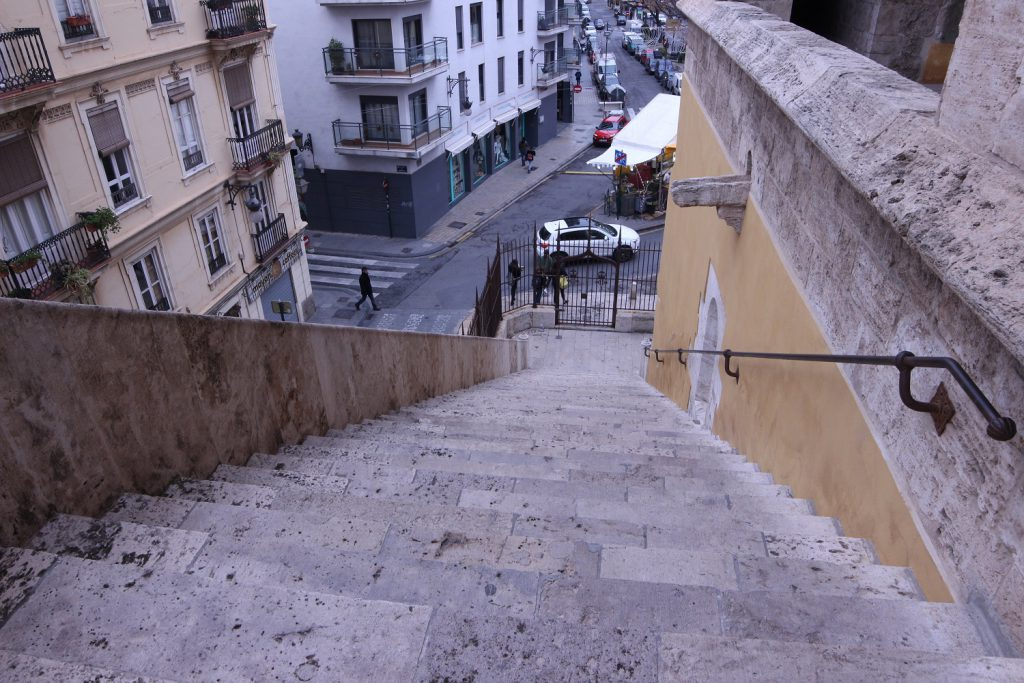 The first set of stairs within the Torres De Quart in Valencia, Spain