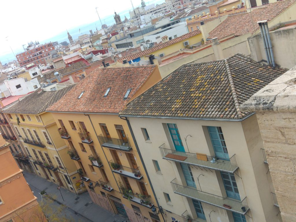 The view from the first level of the Torres De Quart in Valencia, Spain.