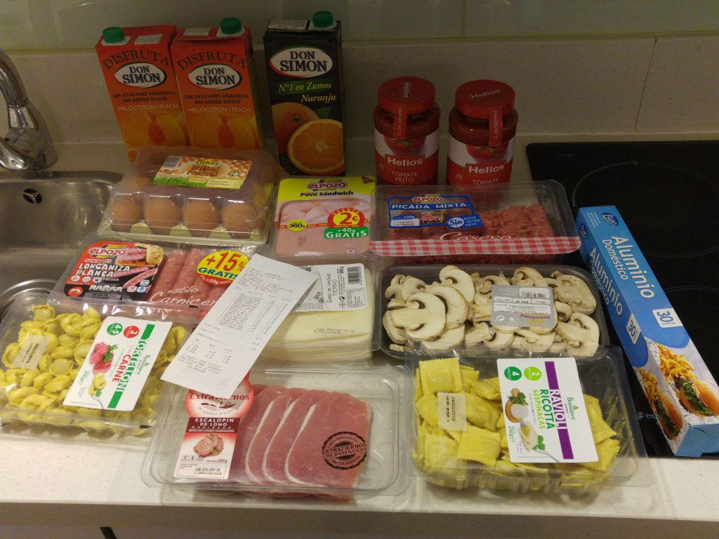 First run of groceries for my stay in Valencia, Spain