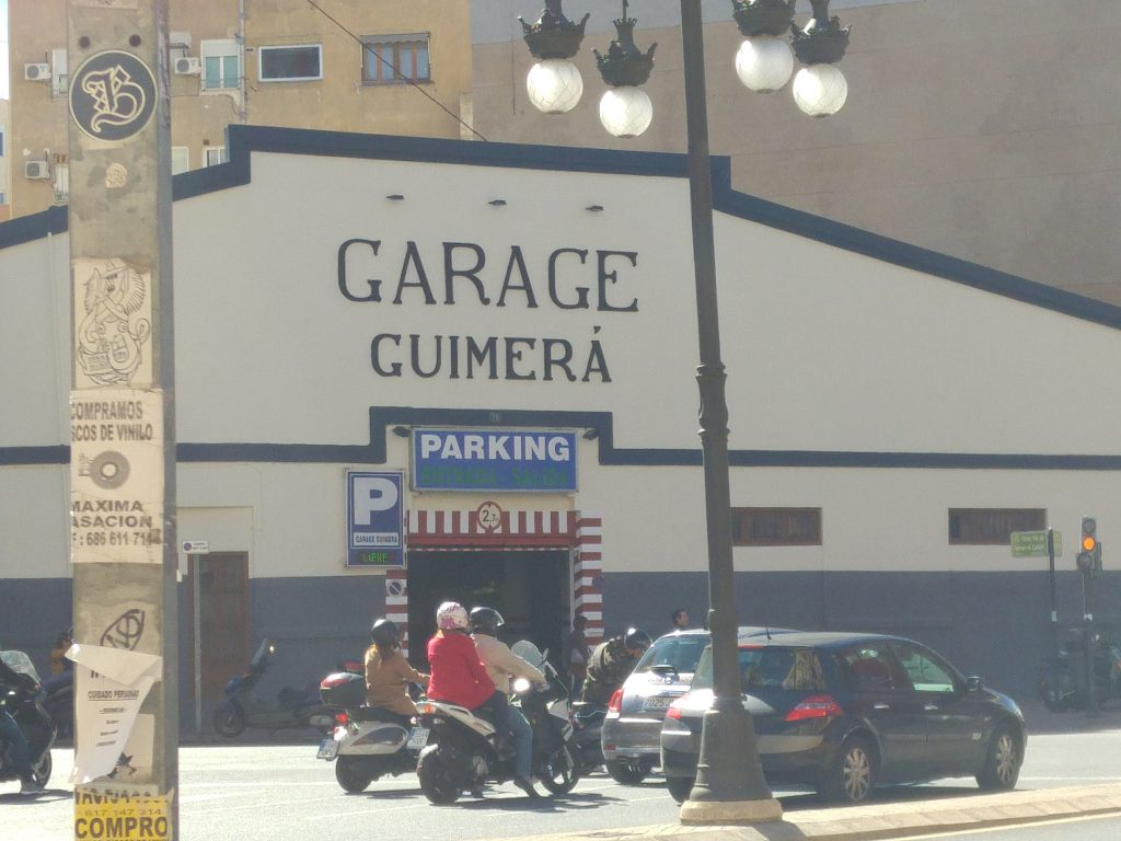 Typical parking style garage in the center of Valencia, Spain