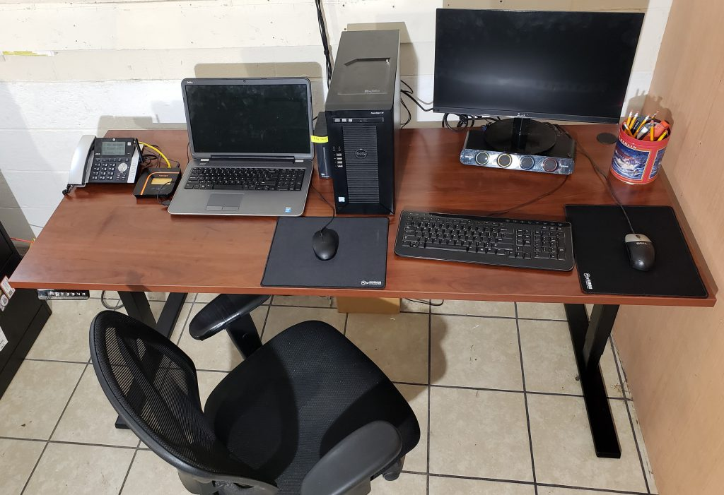 Bush Business Furniture sit /  stand desks. One of the best solutions to keep me productive everyday.
